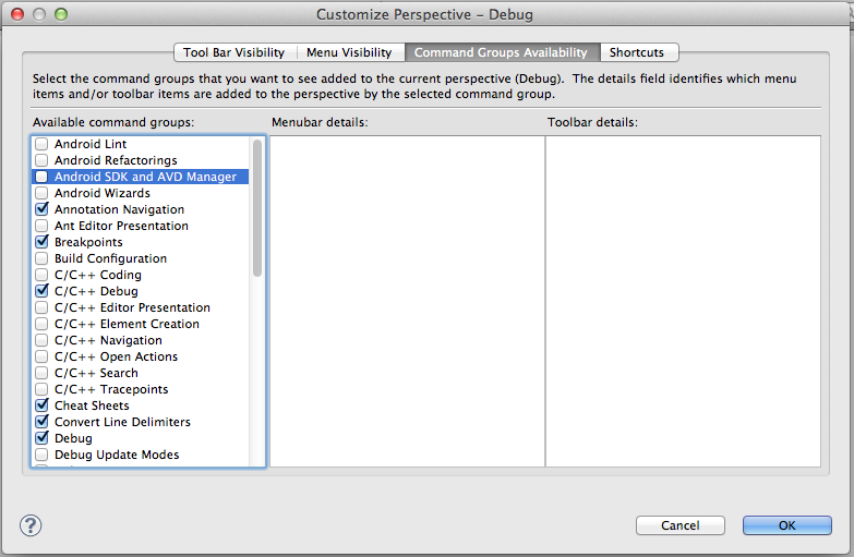Customise Perspective Dialog foud in Eclipse's Window Menu
