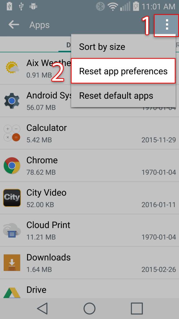 Menu->Reset App Prefernces