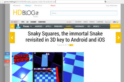 Snaky Squares review on hdblog.it